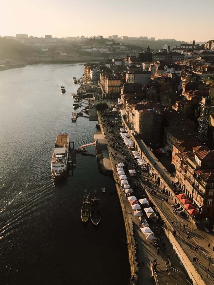 Travel to Porto, Portugal in the winter on the Dom Luis I Bridge.